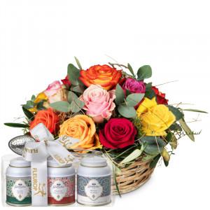 Ein Korb voller Rosen mit Gottlieber Tee Geschenk-Set